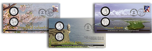 2009 First Day Coin Covers: DC, Puerto Rico and Guam Quarters