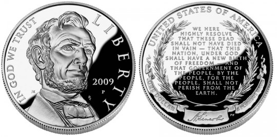 Abraham Lincoln Bicentennial Silver Dollar Proof - Click on image to enlarge