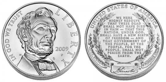 Abraham Lincoln Bicentennial Silver Dollar Uncirculated - Click on image to enlarge