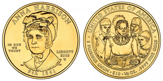 Anna Harrison First Spouse Gold Coin line art- click to enlarge (at this time a proof image is unavailable)