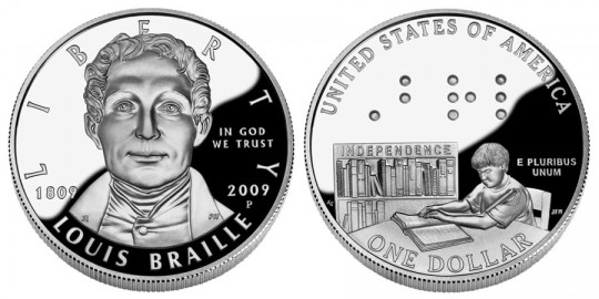 Loius Braille Bicentennial Silver Dollar Proof - click on image to enlarge