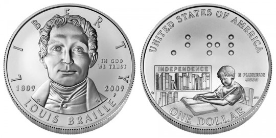 Louis Braille Bicentennial Silver Dollar Uncirculated - click on image to enlarge