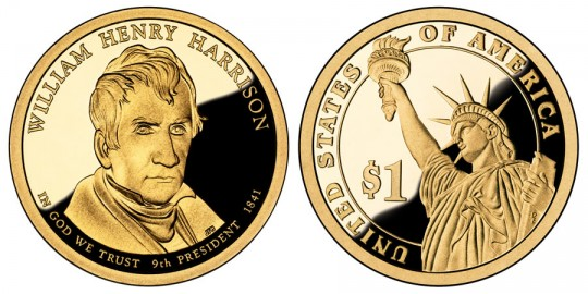 William Henry Harrison Presidential $1 Proof Coin - click on image to enlarge