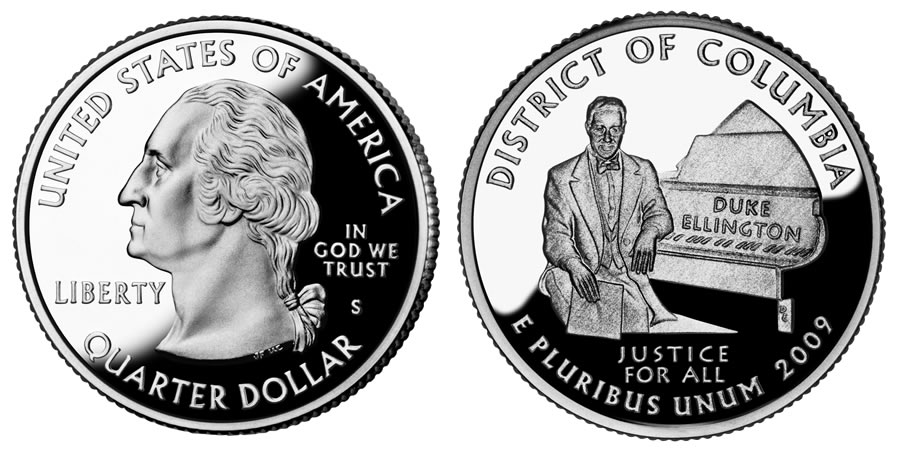 2009S District of Columbia 25c DCAM Silver Proof Washington Quarter