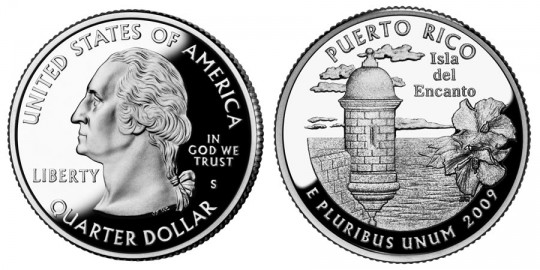 Commonwealth of Puerto Rico Quarter Proof- click on image to enlarge (at this time, only proof image is available)