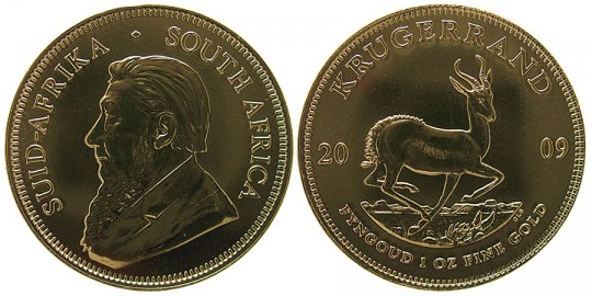South African Krugerrand Gold Bullion Coin - click on image to enlarge