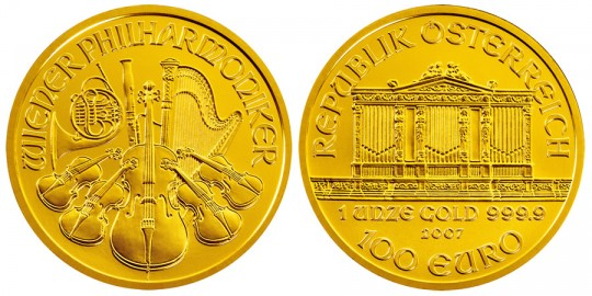 Austrian Vienna Philharmonic Gold Bullion Coin - Click on image to enlarge