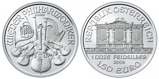 Austrian Vienna Philharmonic Silver Bullion Coin - Click on image to enlarge