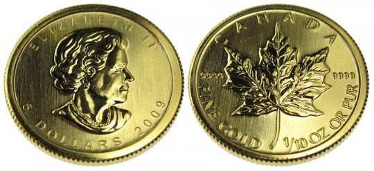 Canadian Gold Maple Leaf Bullion Coin - click on image to enlarge