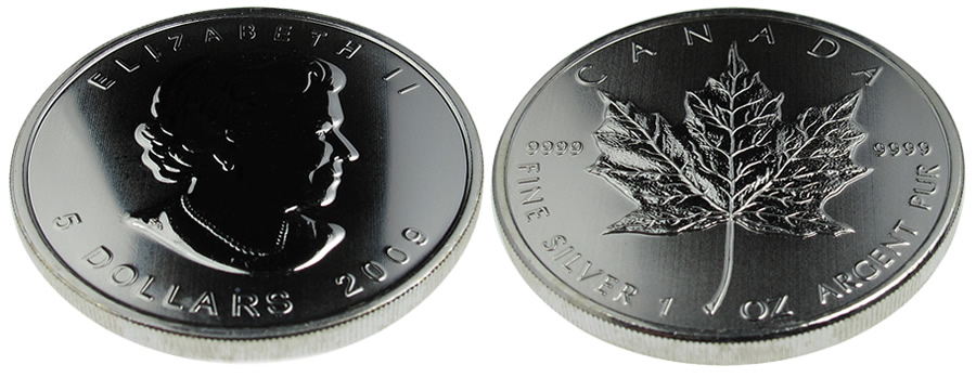 Canadian Silver Maple Leaf Bullion Coin - click on image to enlarge