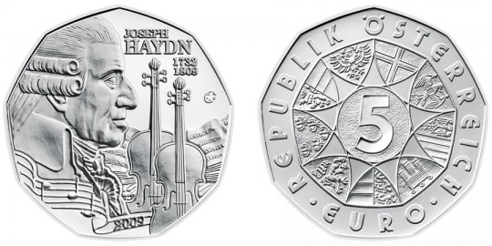 Joseph Haydn 5 Euro Silver Coin - click on image to enlarge