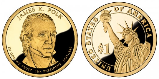 James K. Polk Presidential $1 Proof Coin - click on image to enlarge
