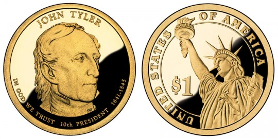 John Tyler Presidential $1 Proof Coin - click on image to enlarge