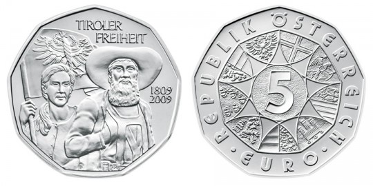 Tyrolean Resistance Fighters Coin 2009 - click on image to enlarge