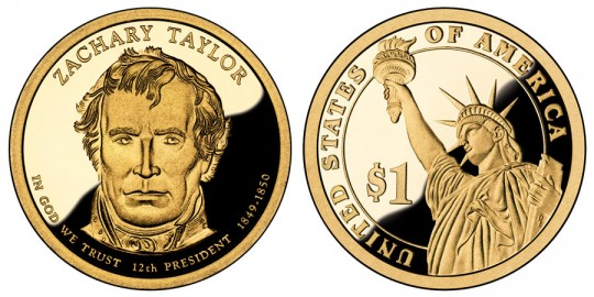 Zachary Taylor Presidential $1 Proof Coin - click on image to enlarge