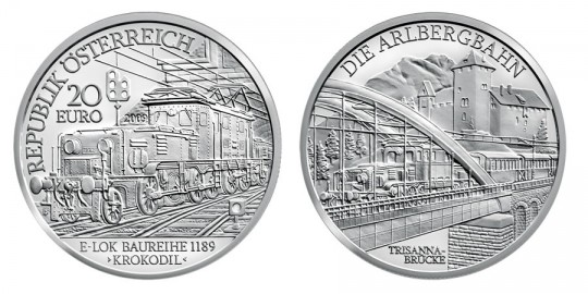 2009 Electric Railway 20 Euro Silver Coin - click on images to enlarge