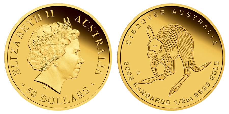 Discover Australia 2009 Dreaming Kangaroo Gold Coin Perth Mint