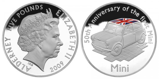 2009 50th Anniversary of the Mini £5 Silver Proof Coin - click on image to enlarge