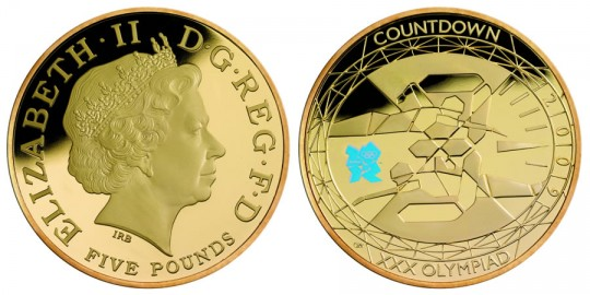2009 Countdown to London £5 Gold Proof Coin - click on image to enlarge