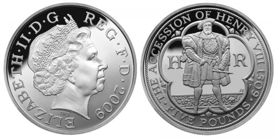 2009 UK Henry VIII £5 Silver Proof Coin - click on image to enlarge