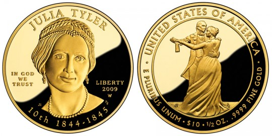 Julia Tyler First Spouse Gold Coin - Proof - click on image to enlarge