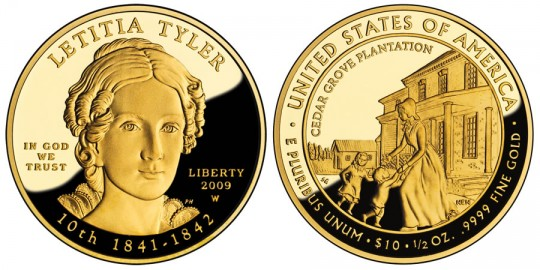 Letitia Tyler First Spouse Gold Coin - Proof - click on image to enlarge