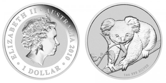 2010 Australian Koala Silver Bullion Coin - click on image to enlarge