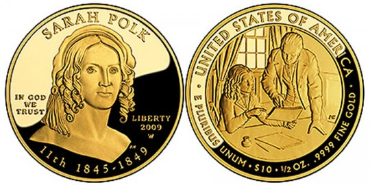 Sarah Polk First Spouse Gold Coin - Proof - click on image to enlarge