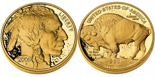 American Buffalo Gold Proof Coin (2008 Version shown) - click on image to enlarge