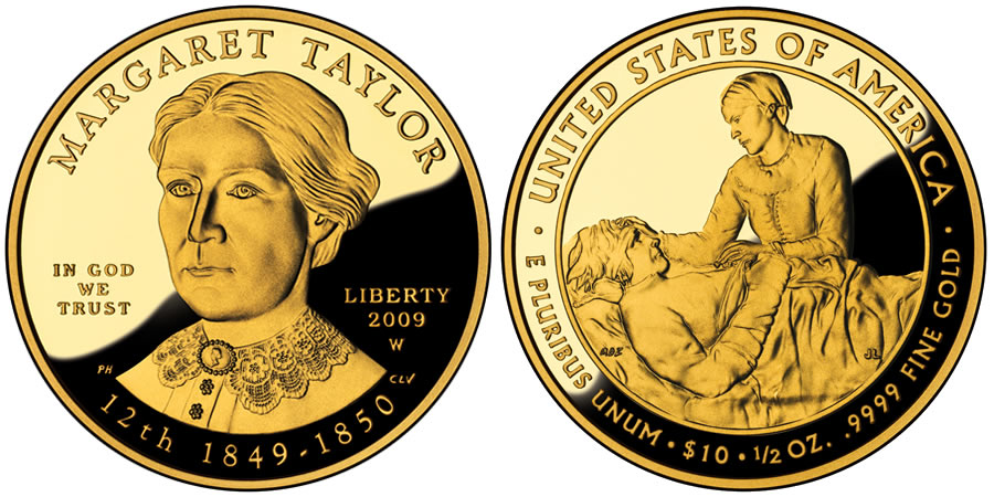 Margaret Taylor First Spouse Gold Coin - Proof - Click to Enlarge