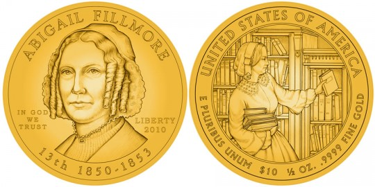 Abigail Fillmore First Spouse Gold Coin line art  - click to enlarge (proof image unavailable at time of posting)