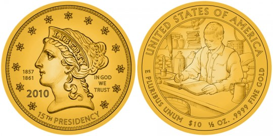 Buchanan Liberty First Spouse Gold Coin line art - click to enlarge (proof image not available at time of posting)