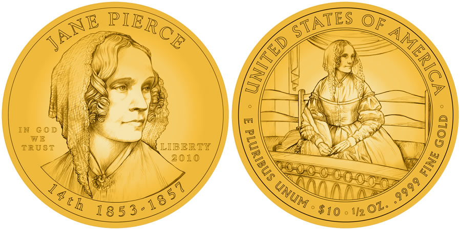 Jane Pierce First Spouse Gold Coin line art - click to enlarge (proof image unavailable at time of posting)