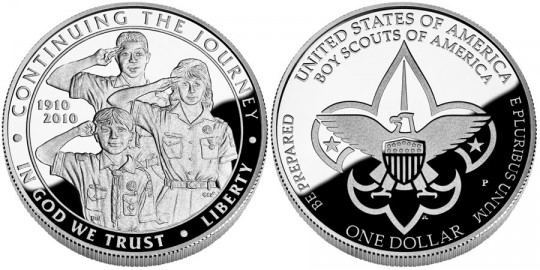 2010 Boy Scout Centennial Proof Silver Dollar - Click on image to enlarge