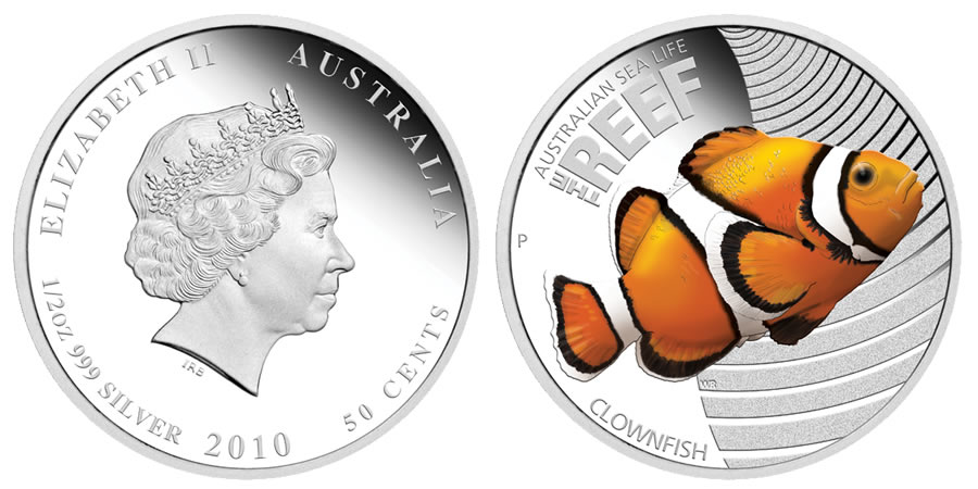 2010 Clownfish 1 2 Oz Silver Proof Coin