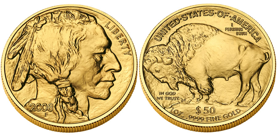 American Buffalo Gold Bullion Coin (2008 Bullion Coin Shown) - click on image to enlarge