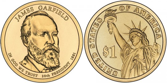 2011 James Garfield Presidential $1 Coin (US Mint images)