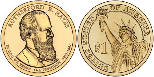 2011 Rutherford B. Hayes Presidential $1 Coin (US Mint images)