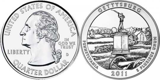 2011 Gettysburg America the Beautiful Silver Uncirculated Coin (US Mint images)