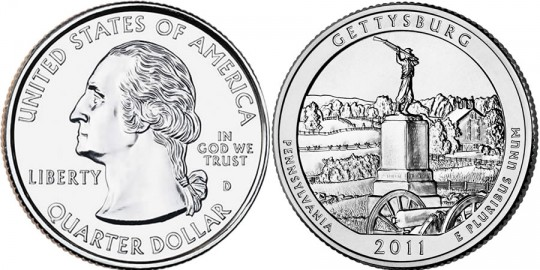 2011 Gettysburg National Military Park Quarter (US Mint images)
