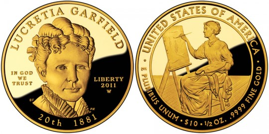 2011 Lucretia Garfield First Spouse Gold Coin (US Mint images)