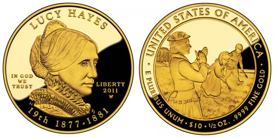 2011 Lucy Hayes First Spouse Gold Proof Coin (US Mint images)