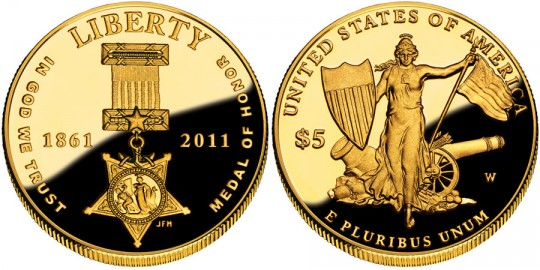 2011 Medal of Honor Commemorative $5 Gold Coin (US Mint images)