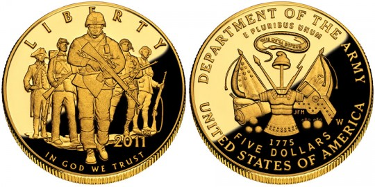 2011 United States Army Commemorative $5 Gold Coin (US Mint images)