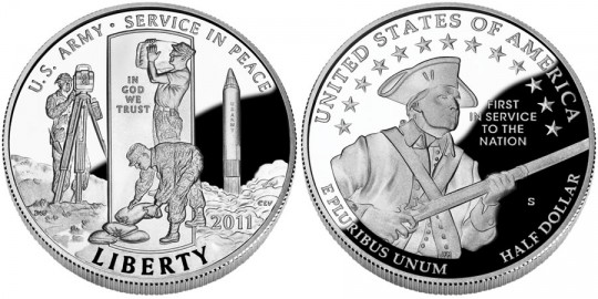 2011 United States Army Commemorative Half Dollar Coin (US Mint images)