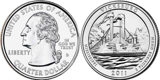 2011 Vicksburg National Military Park Quarter (US Mint images)