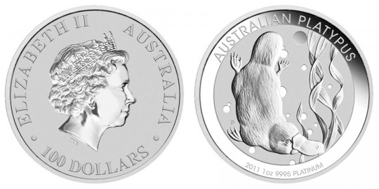 Australian Platypus Platinum Bullion Coin (Perth Mint images)