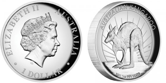 2011 Australian Kangaroo 1oz Silver Proof High Relief Coin (Perth Mint images)