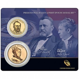 Grant Presidential $1 Coin and First Spouse Medal Set (US Mint image)