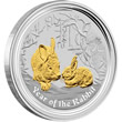 2011 Year of the Rabbit Gilded Silver Coin